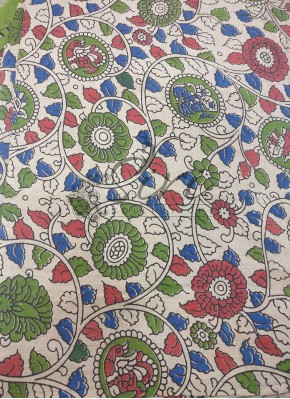 Printed Kalamkari Cotton Fabric in Creeper Design Per Meter