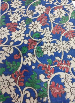 Printed Kalamkari Cotton Fabric in Floral Design Per Meter