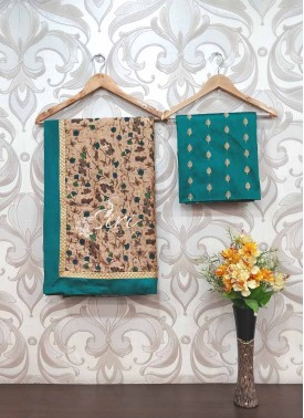 Printed Kota Saree with Designer Blouse Fabric