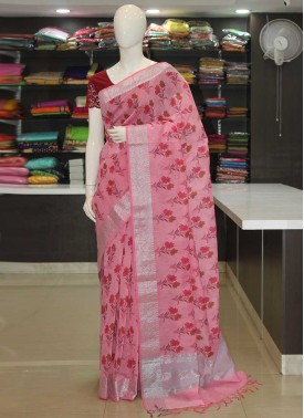 Printed Linen Cotton Blend Saree in Silver Zari Border