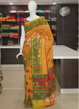 Printed Orangish Yellow Mangalagiri Pattu Saree
