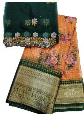 Printed Organza Lehenga Fabric with Kanchi Border and Matching Cut Work Dupatta Set