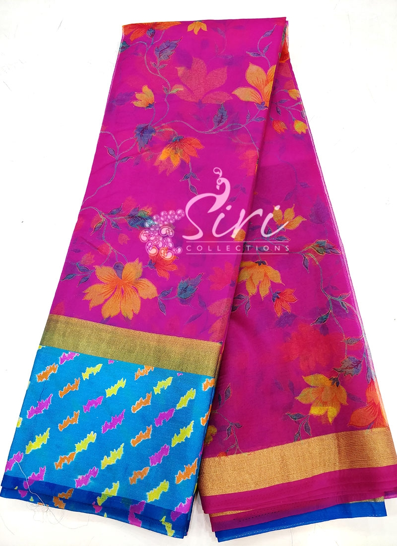 Printed Organza Saree in Satin Finish Border