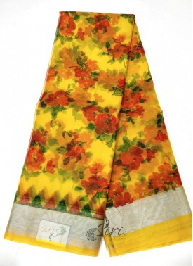 Printed Organza Saree in Silver Border