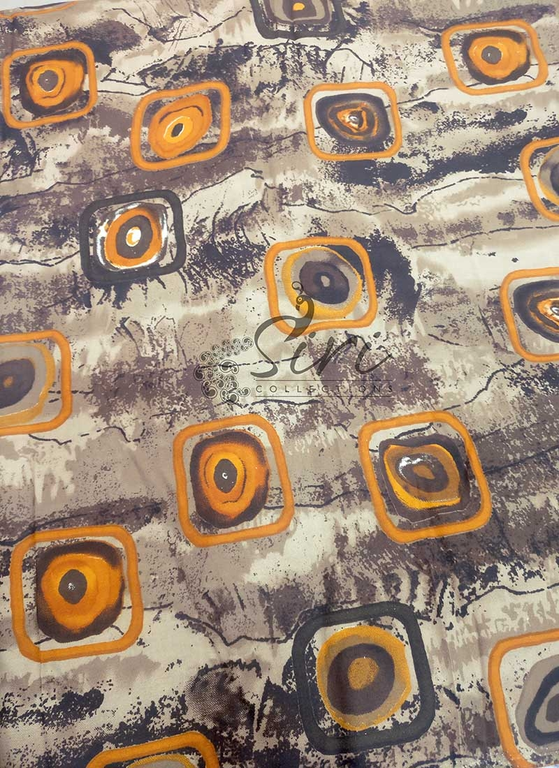 Printed Rayon Fabric in Brown and Yellow Per Meter