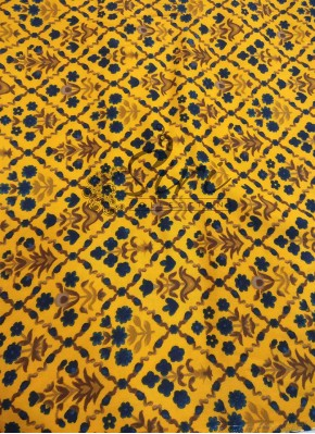 Printed Rayon Fabric in Yellow and Dark Blue Per Meter