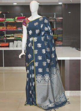 Prussian Blue Fancy Banarasi Silk Saree in Silver Zari