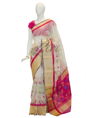 Pure Authentic Chanderi Silk Saree in white pink