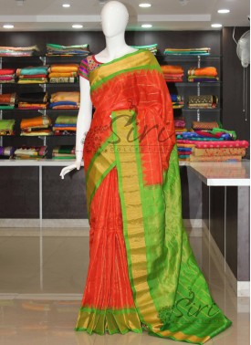 Pure Authentic Gadwal Silk Saree in Orange and Gre