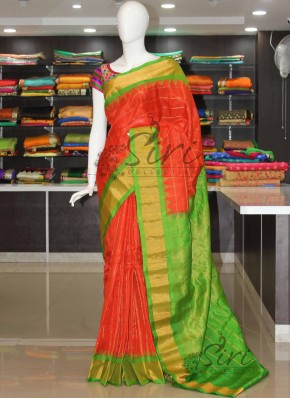 Pure Authentic Gadwal Silk Saree in Orange and Green