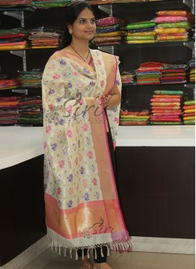 Pure Banarasi Silk Dupatta in Multi Colour Ikat Design