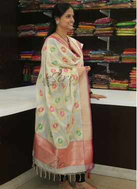 Pure Banarasi Silk Dupatta in Multi Colour Peacock Design Butis