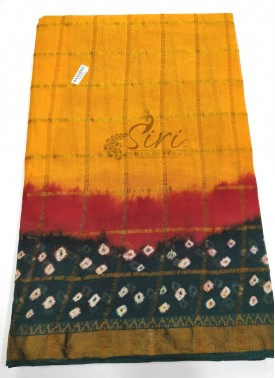 Pure Bandhej Cotton Saree in Zari Checks