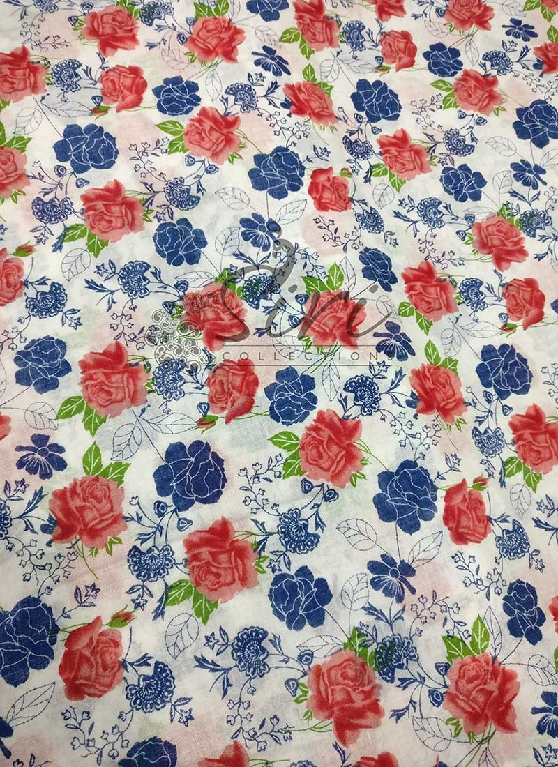 Pure Cotton Fabric in Floral Print Per Meter