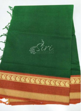 Pure Cotton Saree in Thread Borders in Green