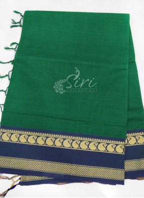 Pure Cotton Saree in Thread Borders in Green Blue