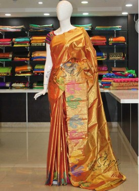 Pure Designer Soft Kanchipuram Silk Saree in Gold Tissue Zari