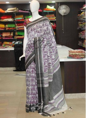 Pure Digital Print Linen Saree in Self Temple border