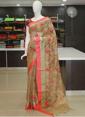 Pure Gold Tissue Saree in Rich Kanchi Borders and Embroidery Work