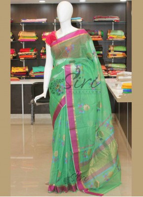 Pure Green Zari Kota Saree