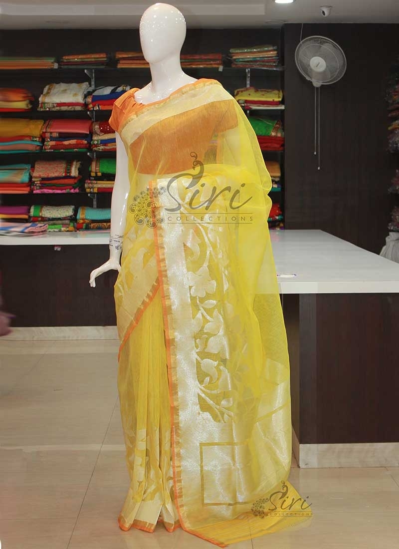 Pure Handloom Banarasi Net Saree in Yellow with Silver Zari