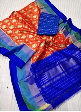 Pure Ikat Silk Dupatta and Ikat Seico Top Fabric and No Bottom