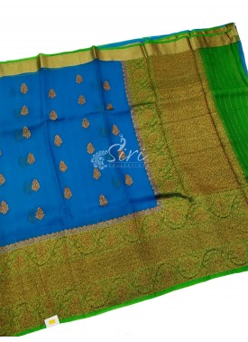 Pure Kora Handloom Silk Saree in Buti Design with Contrast Border