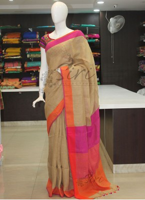 Pure Linen Saree in Beige with Contrast Borders