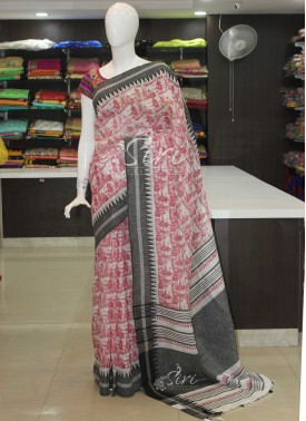 Pure Linen Saree in Dancing Dolls Design Digital Print