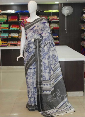 Pure Linen Saree in Digital Print