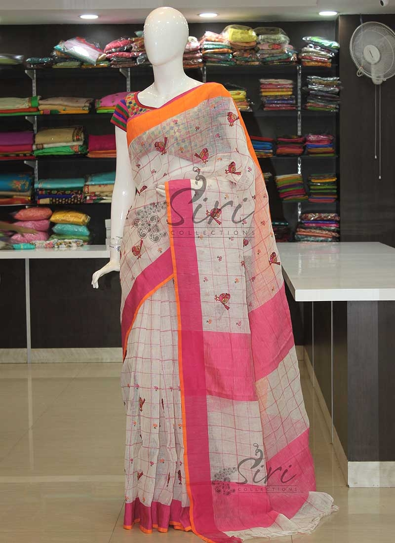 Pure Offwhite Linen in Embroidery Work and Checks
