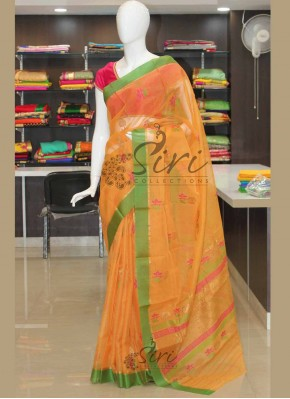 Pure Pastel Orange Zari Kota Saree