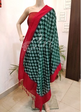 Pure Pochampally Ikat Mercerized Cotton Dupatta