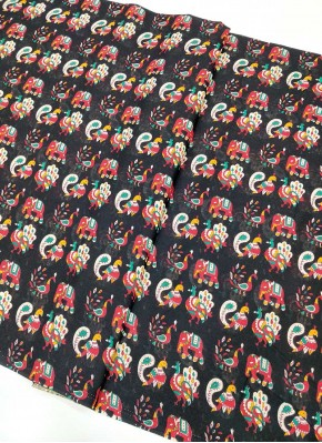 Pure Printed Cotton Fabric in Elephant Design Print Per Meter