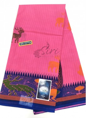 Pure Printed Cotton Saree In Ikat Design