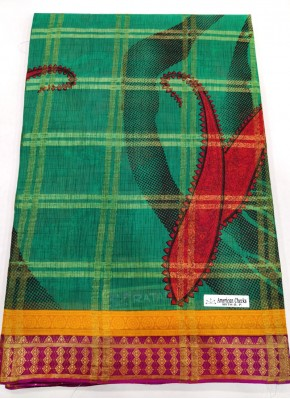 Pure Printed Cotton Saree In Self Checks