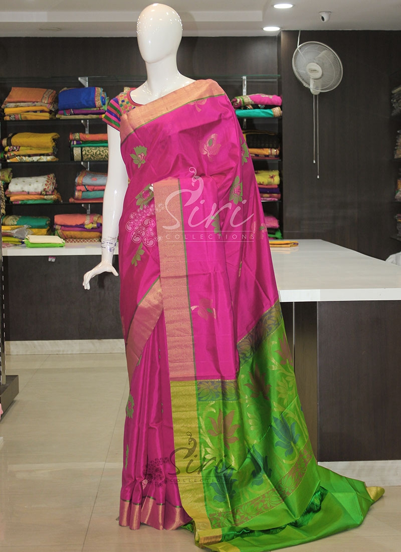 Pure Silk Saree in Magenta Pink and Green