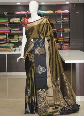 Pure Silk Saree in Olive Green Black in Silver Gold Zari