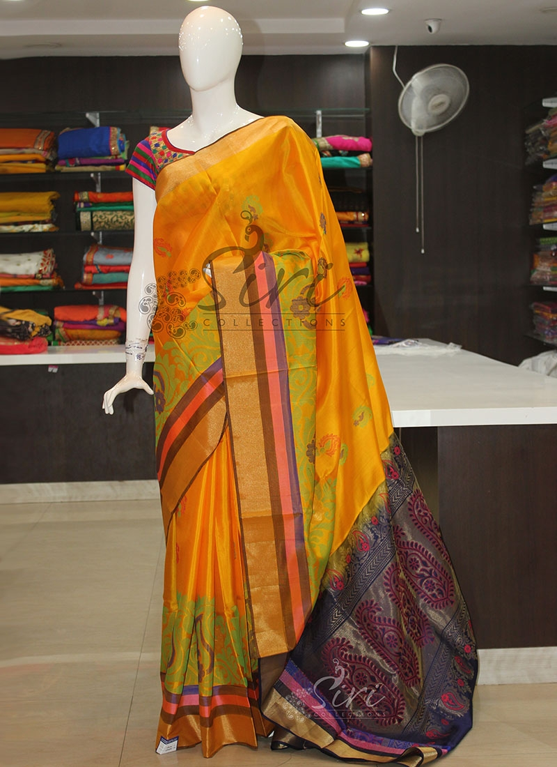 Pure Silk Saree in Yellow and Navy Blue with Designer Borders