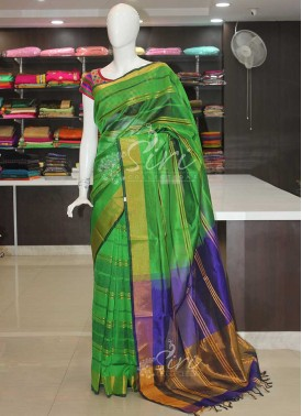 Pure Uppada Seico Saree in Green Royal Blue