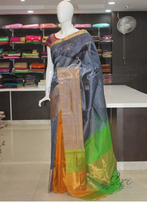 Pure Uppada Seico Saree in Grey Yellow Green