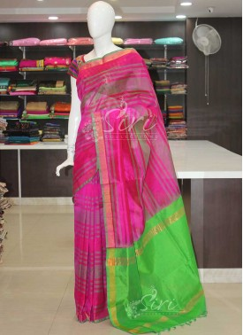Pure Uppada Seico Saree in Magenta Pink Green
