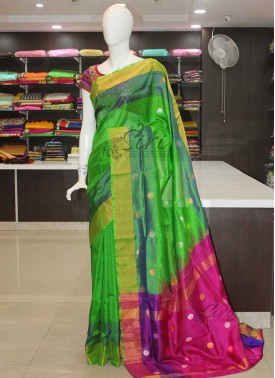 Pure Uppada Silk Saree in Green Magenta Blue Purple