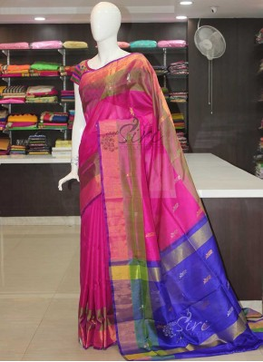 Pure Uppada Silk Saree in Magenta Green Blue Purple