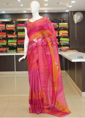 Pure Uppada Silk Saree in Pink with silver gold zari stripes