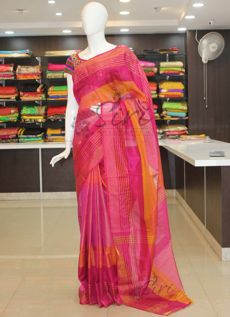 a55696d477e4f8 Pure Uppada Silk Saree in Pink with silver gold zari stripes
