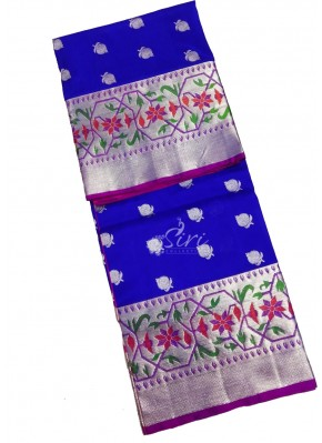 Pure Venkatagiri Pattu Silk Saree in Blue and Pink