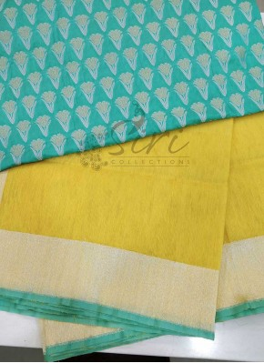 Pure Yellow Handloom Banarasi Net Saree in Silver Zari Border