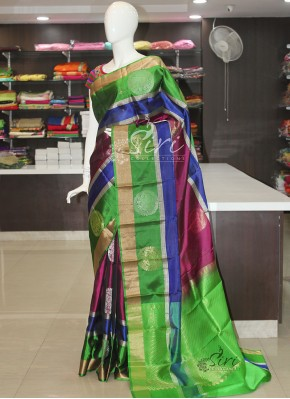 Purple Blue Green Pure Light Weight Pattu Silk Saree