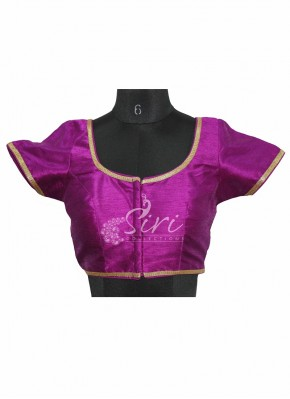 Purple Dupion Silk Stitched Blouse with Gold Border